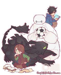 Crossover, Big Hero 6, Como Treinar Seu Dragão, Hiccpu e Hiro