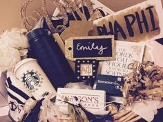 Black and Gold Themed Big and Little Basket Alpha Phi UConn