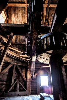 Inside the windmill, built in Southold in 1810 -  NY