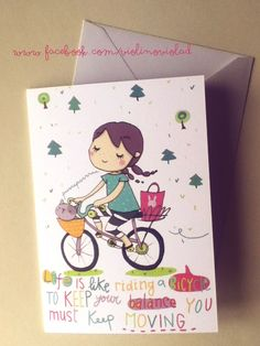Biglietto illustrato con busta bimba in bicicletta con citazione : Biglietti di violinoviola