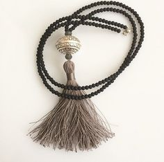 Long Tassel Necklace Black and silver by lizaslittlethings