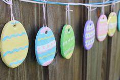 Preschool Crafts for Kids*: Easy Salt Dough Easter Egg Garland Craft Easter Garland, Easter Tree, Easter Eggs, Easter Projects, Easter Crafts For Kids, Preschool Crafts, Craft Kids, Easter Ideas, Salt Dough Christmas Ornaments