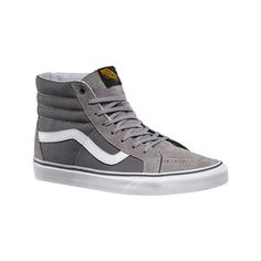 Vans Surplus Sk8-Hi Reissue - Frost Gray/Pewter Casual Shoes ($70) ❤ liked on Polyvore featuring shoes, sneakers, vans shoes, pewter shoes, grey high tops, grip trainer and grey high top sneakers