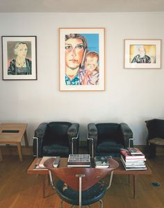 Timothy Greenfield-Sanders' East Village home in Manhattan, furnished with armchairs by Le Corbusier and Hans Wegner.