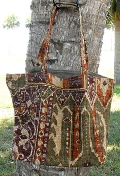 Shopping Tote Large-Eco Friendly-Grocery Bag-Diaper Bag-Beach Bag-Carry On-Library Tote-Craft Bag-Market Bag-Reusable-Olive-Plum-Rust-Aztec by sewlittletime2009 on Etsy