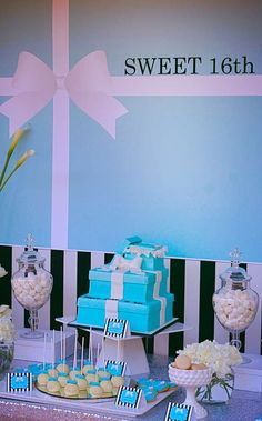 Tiffany themed dessert table at a 16th birthday party!  See more party ideas at CatchMyParty.com!