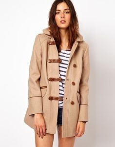 ASOS Duffle Coat With PU Trims & Borg Lining
