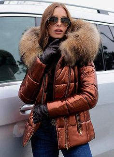 Aofur Womens Ladies Quilted Winter Coat Fur Collar Hooded Down Jacket Parka Outerwear Winter Trench Coat, Winter Fur Coats, Mafia, Leather Jacket Outfits, Winter Quilts, Winter Jackets Women, Fur Collars, Winter Outfits, Leather Gloves