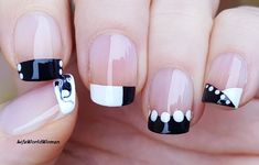 DIY Easy Nail Art Tutorial - Nail Designs For Beginners Too! I'm not a pro, and I learn always new designs and my head is full with 'H. French Manicure Nails, French Manicure Designs, French Nails, Cute Acrylic Nails, Acrylic Nail Designs, Nail Art Designs, Black And White Nail Designs, Black White, Easy Nail Art