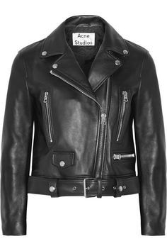 Black leather Asymmetric zip fastening through front 100% leather (Lamb); lining: 52% viscose, 48% cotton Specialist clean Imported