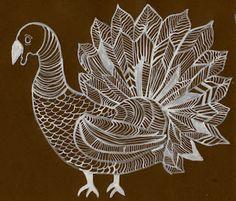 TURKEY LINE DRAWING; silver sharpie on paper