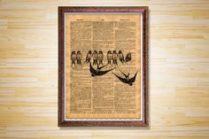 Bird poster Animal dictionary page by CrowDictionaryPrints on Etsy