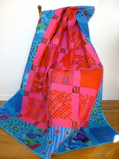 Quilted Kaffe Fassett Patchwork Lap Quilt - Floral Quilt - Bright Modern Aqua Pink Orange Quilts for Sale  Bright colored floral fabrics from Kaffe