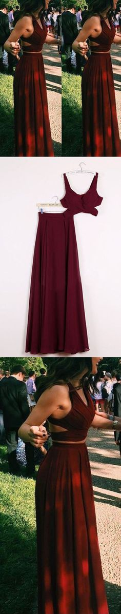 prom dresses,2018 prom dresses,Fashion Long Prom Dress,2 pieces burgundy Floor Length Party Dresses,Evening Dress #2piecespromdress #2piece #2pieces #twopieces #promdress #promdresses #hiprom #prom #burgundy #red #chiffon