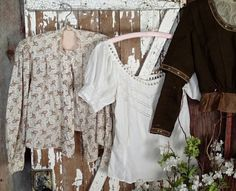 Lot of 4 Antique Victorian Prairie Blouses Tops ~ Calico and whites Antique Clothing, Online Price, Victorian, Blouses, Antiques, Best Deals, Lace, Handmade, Tops
