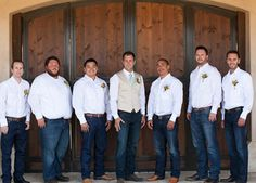 No vests except for groom Country Wedding Groomsmen, Groomsmen Grey, Groomsmen Outfits, Groom And Groomsmen Attire, Wedding Country, Cowboy Groomsmen, Country Groom Attire, Casual Groom Attire, Jeans Wedding