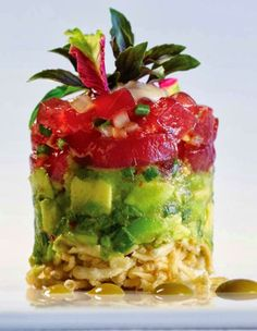 Ahi Sashimi & Avocado Stack with Wonton Crisps, recreated by this gourmet chef blogger, from Alan Wong's in Honolulu, recipe with full detailed tutorial and good photographs ~ reposted and reshared