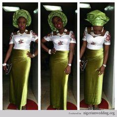 Nigerian Wedding french lace  velvet ore iyawo aso ebi styles green and white bride
