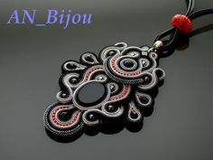 Black gray Soutache necklace with the Onyx . от ANBijou на Etsy