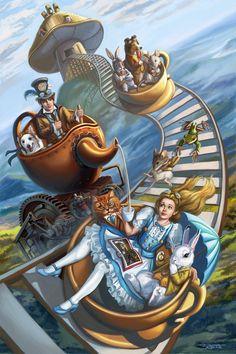 Alice In Wonderland Artwork, Alice In Wonderland Steampunk, Arte Steampunk, Chesire Cat, Alice Madness, Fairytale Art, Mad Hatter Tea, Adventures In Wonderland, Surreal Art