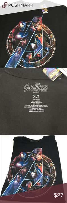 Marvel Avengers: Infinity War Logo Graphic Tee Marvel Avengers: Infinity War Logo Mens Graphic T Shirt Black Tee sz XLT.  Brand new with tags.  Approximate measurements laid flat:  Armpit to armpit:  25.5in Length:  31.5in  Material:  60% cotton, 40% polyester  Brand New with tags.  Please zoom to view all photos.   If you have any questions please contact me. Shirts Tees - Short Sleeve