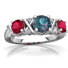 This is the mother's ring I want!!!!!  Lab Alexandrite Hugs And Kisses 14K White Gold ring R5016 - front view