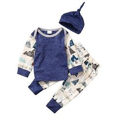 """This three piece clothing set is so precious and would make a great take home outfit for your newborn. Two different fabrics are featured with a mountain design that says """"Adventure"""""""