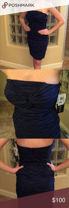 Cocktail Dress Beautiful Navy Blue and Black Cocktail Dress.  Never been worn. Betsy & Adam Dresses Strapless