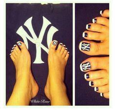 Lets go Yankees Yankees Nails, Go Yankees, Yankees Logo, Baseball Toes, Baseball Nail Art, Pedicure Designs, Toe Nail Designs, Toe Nail Art, Toe Nails