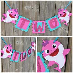 Two shark banner under the sea banner girl shark high chair 2nd Birthday Party For Girl, Birthday Cake Smash, Birthday Ideas, Arte Elemental, Shark Party, Baby Shark, First Birthdays, Banner, Chair