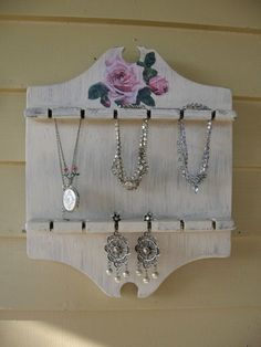Repurposed Spoon Holder Shabby Chic Jewelry Holder by Fannypippin,