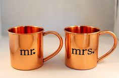"Pure copper Moscow Mule mugs with ""Mr."" designs, A perfect wedding gift for Moscow Mule fans. 14 ounce size, Food-safe lacquer coating helps preserve beauty and shine. Not for microwave . Copper Moscow Mule Mugs, Copper Mugs, Thoughtful Wedding Gifts, Cute Mugs, Pure Copper, Mugs Set, Fish Tank, Pure Products, Etsy"