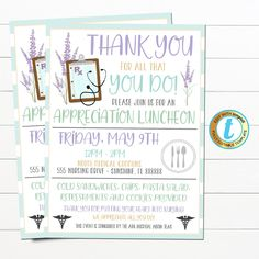 "Nurse Appreciation Luncheon Dinner Event Invitation. Use this invite for any Hospital Nursing Staff Appreciation Event, picnic or cookout event. A great invite template for hospitals, medical companies, and more - all text is editable so make it read what you wish! TEMPLATE FORMATTED SIZES: 5"" x 7"" (Invite) 8.5"" x 11"""