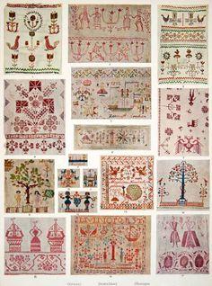 1953 Color Print German Embroidery Linen Cotton Yarn Towels Handkerchief Decor - Original Color Print