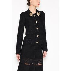 DOLCE & GABBANA Jacket With Lace Inserts And 'Cats' Buttons (117.385 RUB) ❤ liked on Polyvore featuring outerwear, jackets, lace jacket and dolce gabbana jacket