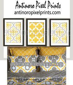 Flower Mustard Yellow Khaki White Wall Art Vintage / Modern Inspired -Set of (3) - Wall Art Prints -  (UNFRAMED)