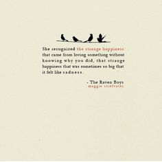 Lovely quote from The Raven Boys by Maggie Stiefvater. One of many.