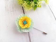 Aqua Yellow Camellia Flower Pin Scarf Pin Hat Pin Lapel Pin