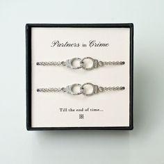 Bracelets For Ladies : Partners in Crime – Set of 2 Silver Handcuff Charms Bracelets, Matching Best Friends/ Sisters/ Roommates/ Couples/ Bff Silver Bracelets Set - #Bracelets https://talkfashion.net/acceseroris/bracelets/bracelets-for-ladies-partners-in-crime-set-of-2-silver-handcuff-charms-bracelets-matching-best-fri/