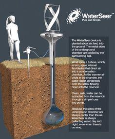 Un nuevo dispositivo para recoger agua de la atmósfera nos promete hasta 40 litros de agua potable al día, sin necesidad de una fuente de energía externa.  http://ecoinventos.com/waterseer/