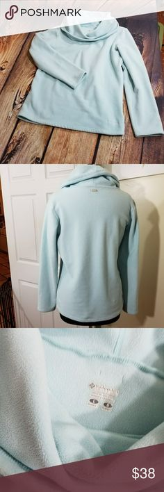 Columbia Baby Blue Cowl Neck Fleece Large Super ,snuggy comfy warm.Precious baby blue color makes this a winter wardrobe must have. Excellent Condition. Size Large. Columbia Sweaters Cowl & Turtlenecks
