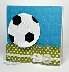 Soccer Ball card  hexagon pattern using Stampin Up honeycomb embossing folder
