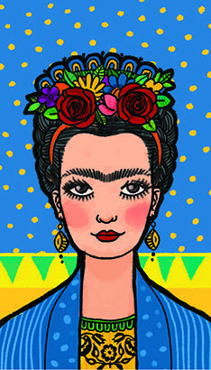 Design by Gina Fuentes Fabric Painting, Diy Painting, Arte Latina, Kahlo Paintings, Frida And Diego, Mexican Folk Art, Pop Art, Art Drawings, Art Projects