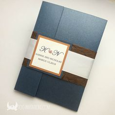 Navy Blue Pocketfold Rustic Wedding Invitations In And Brown Pearl Paper