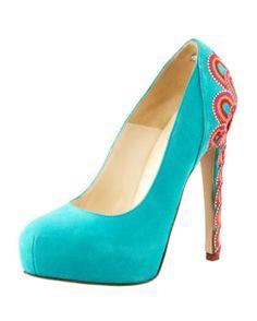 heels, teal