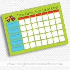 {The Organised Housewife} Editable - Construction Truck Chore Chart.  copy this idea!