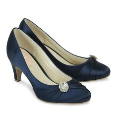 #weddingshoes #trousseaubridalshoes #bridesmaidshoes Harmony in navy is a classic closed toe with brooch.Check out www.trousseaubridalshoes.co.nz - worldwide shipping is available on our shoes, please contact us