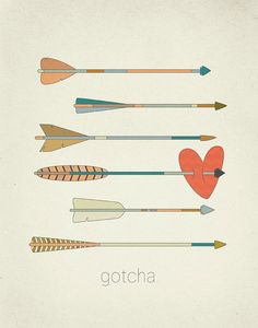 Gotcha Arrows and Heart Art Print by ProjectType on Etsy Illustrations, Graphic Illustration, Arrow Feather, Textiles, Canvas Prints, Art Prints, My Tumblr, Heart Art, Be My Valentine