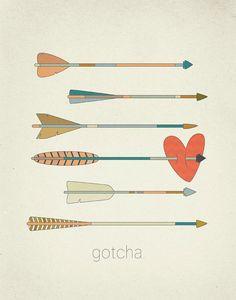 Gotcha Arrows and Heart 11x14 Art Print. $23.00, via Etsy.