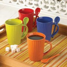 Coffee Lovers Decor: Colorful Bistro Coffee Mugs with Matching Spoons.